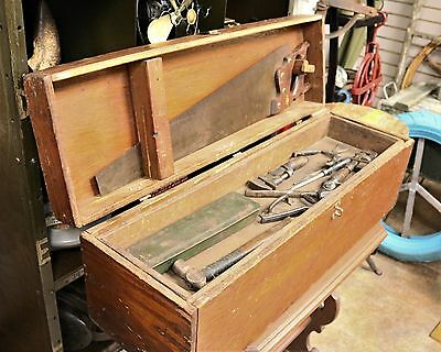 Large 33 Long Antique Wooden Carpenters Tool Box