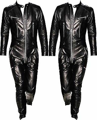New Fashion Cow leather one piece pants jumpsuit Catwalk suit leather Overalls