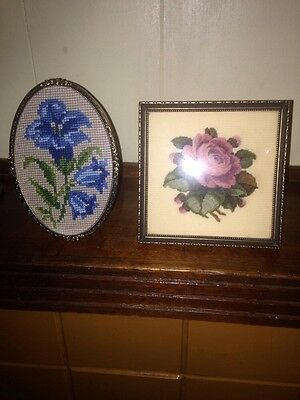 vintage cross stitches - Flowers - X 2 In Frames