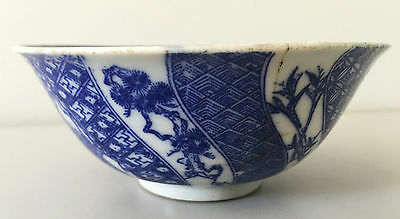 Antique rare chinese bowl blue & white porcelain, signed