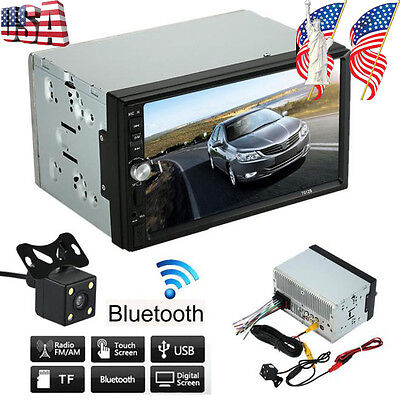 """7"""" HD Touch Screen Double 2 DIN Car GPS Stereo VCD Player Bluetooth Radio Camera"""