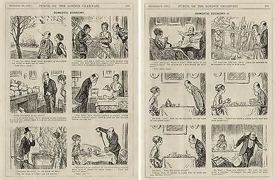 WW1 WWI Original Cartoon Punch 1916 - Home Front Domestic Economy by Baumer 8x10