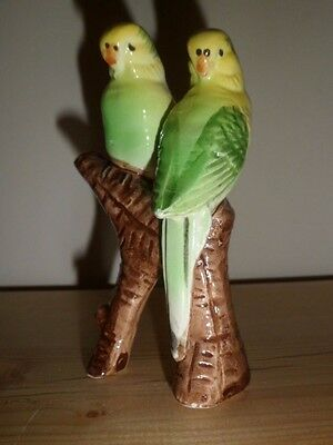 Collectable Old Vintage Green Budgies Budgerigars Figurine