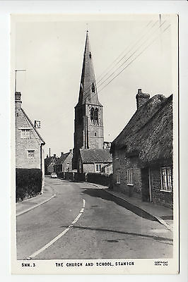 Northants: The Church and School, Stanion - Frith's RP PC (1133)
