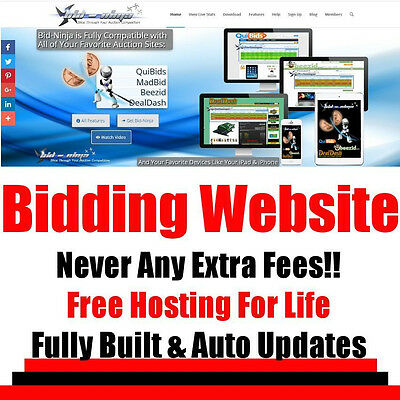 Auction Website - Penny Bidder - No Extra Fees - Home Online Business