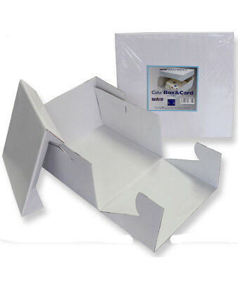1 x PME White Square Folding Cardboard Cake Baking Box Container Lift Off Lid