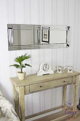 Large Bevelled All Mirror Glass Wall Mirror 120cm X 40cm