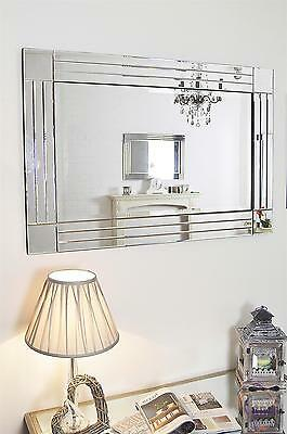 3Ft11 X 2Ft8 120cm X 80cm Triple Bevelled Wall Mirror with Block Corners