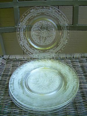 "Macbeth-Evans Set/6 Clear Lunch Plates~Stippled Rose Pattern~8""~Mint"