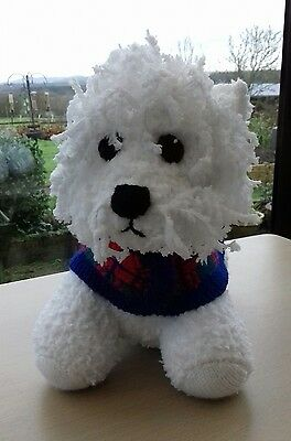Hand Knitted Wesley Westie Dog Soft Toy - Designed by Alan Dart