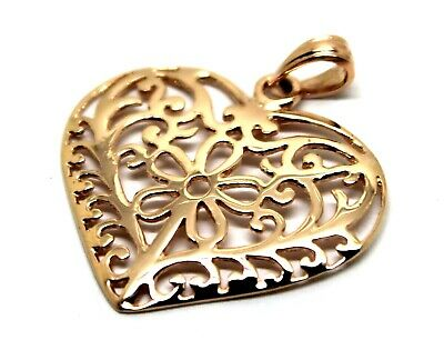 Kaedesigns New Genuine 9Ct Large Rose Gold Filigree Heart Pendant