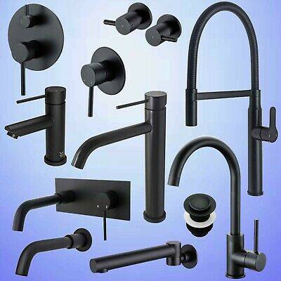 Matt Black Shower Mixer Bath Spout Kitchen Basin Sink Vanity Faucet Cold Hot Tap