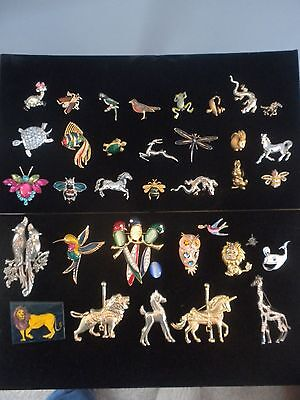 Large Lot of Animal Brooches and Pins, Estate Jewelry Group Gift