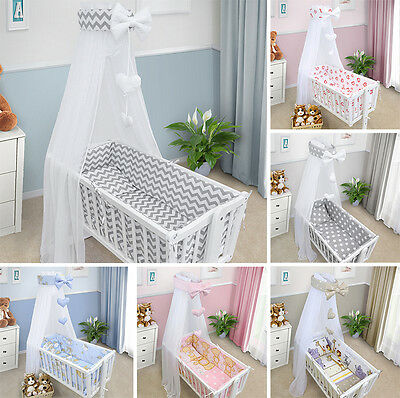 CRIB BEDDING SET CRADLE 3 6 10 Pieces PILLOW DUVET COVER BUMPER CANOPY