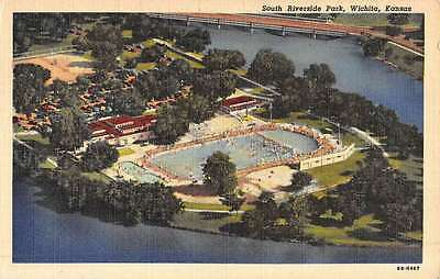 Wichita Kansas South Riverside Park Birdseye View Antique Postcard K50856