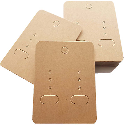 Jewellery Display Cards - Earring Kraft Light Mocha Plain (6.7-7cm x 5cm)