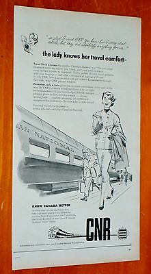 1957 Canadian National Railways Train Ad Lady Knows Her Comfort Ad / Vintage Cnr