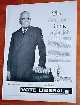 1957 Vote Liberal Louis St Laurent Government Of Canada Election Ad - Vintage