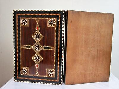 VINTAGE LARGE  INLAY FOLDING CHESS BOARD  WITH 42mm SQUARES