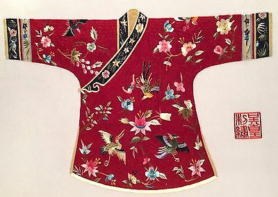 Chinese Vintage Fine Detail Embroidered Robe On Silk Panel With Documentation