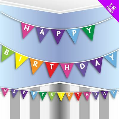 3M Happy Birthday Triangle Bunting Banner Garland Party Decorations Coloured