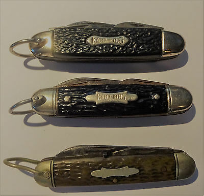 Lot 3 Vintage Kamp King Weck Scout Usa Ireland Pocket Camp Knives Old No Reserve