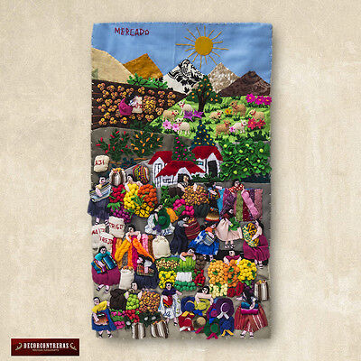 """Quilted wall hangings 17.5"""", Peru Applique Design Wall Hanging Andean Folk Art"""