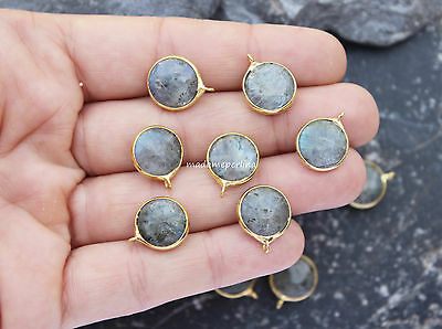 10   labradorite pendants gold plated bezel 18mm round coin charms wholesale DIY