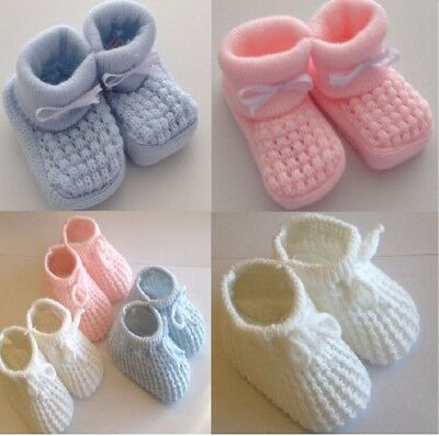 ^Baby Booties Knitted^ Cable Crochet Pom Pom Newborn - 3 months Many Styles