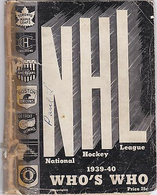 1939-40 Nhl Who's Who Yearbook.