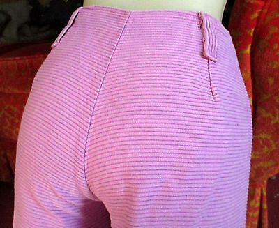 True Vtg 70s Womens 24x28 HOT PINK CORDUROY FLARE HI RISE HIPPY JEANS PANTS