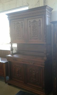 Beautiful Huge 19Thc Antique Heavily Carved 3 Pce French Buffet/sideboard