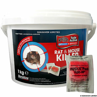 1kg Muskil 15g Pasta Sachets - Unique Dual Active Rodenticide Rat & Mouse Killer