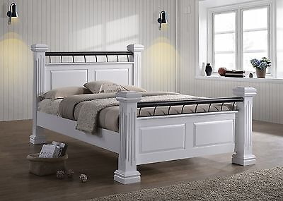 Rolo chunky 4 poster classic british style 5ft kingsize white wooden bed