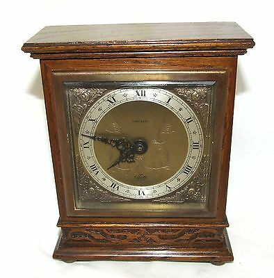 ELLIOTT LONDON Oak with Blind Fretwork Bracket Mantel Clock retailor FINNIGANS