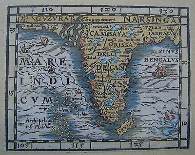 India: antique woodcut map by Sebastian Munster, c1588