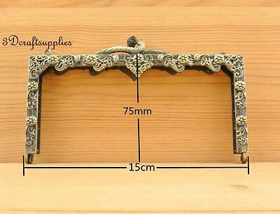 metal frame sewing  bag purse frame clasp alloy 5 3/4 inch anti brass D26