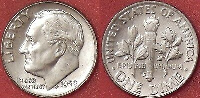 Brilliant Uncirculated 1958D US Roosevelt Silver 10 Cents From Mint's Roll