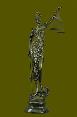"""Lawyer Law Lady Blind Justice Art Bronze Sculpture Figurine Statue 39"""" Tall  Art"""