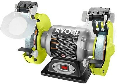 Bench Grinder 6 Inch Ryobi Power Tool 2.1 Amp 6 in. + LED Light+ Wheel Included