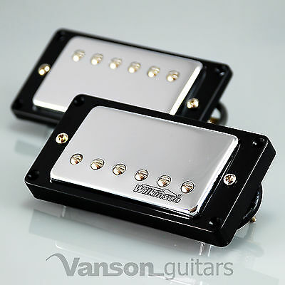 NEW Wilkinson 'HOT' CHROME Humbucker Pickup SET for Gibson, Epiphone ®* MWCHB BK