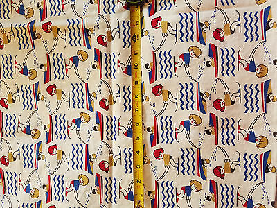1970s/1980s Vintage Cotton Fabric Children Juvenile Retro WATERSKI BOATS
