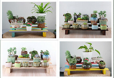 3 Tier Wood Shelf Plant Stand Bathroom Rack Garden Planter Pot Holder Carbonized