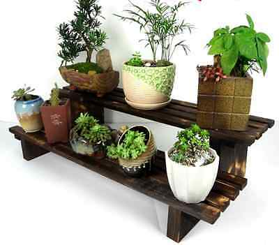 2 Tier Wood Shelf Plant Stand Bathroom Rack Garden Planter Pot Holder Carbonized