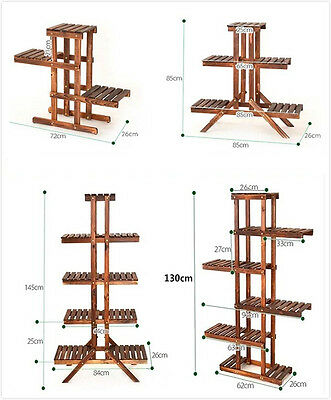 5 Tier Wood Shelf Plant Stand Bathroom Rack Garden Planter Pot Holder Carbonized