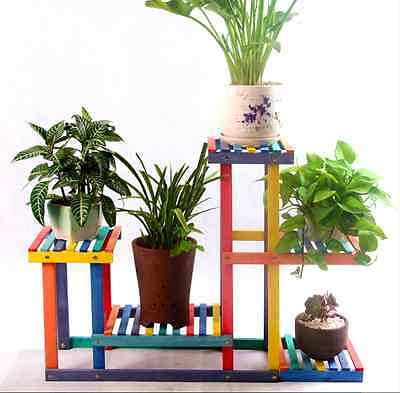 5 Tier Wood Shelf Plant Stand Bathroom Rack Garden Planter Pot Holder Decorative