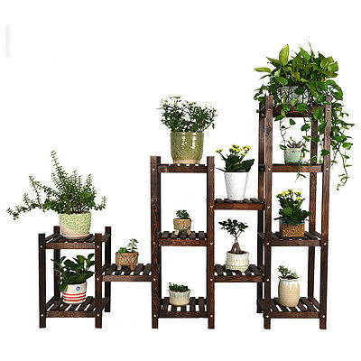 Wood Shelf Plant Stand Bathroom Rack Garden Planter Pot Holder Carbonized
