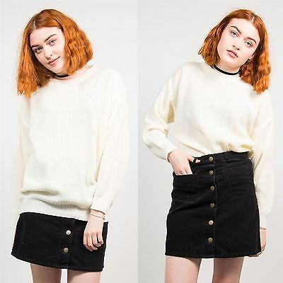 Womens Vintage 90's Cream Knit Jumper Ribbed Grunge Oversize Crew Neck 10 12