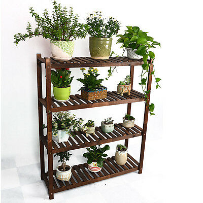 4 Tier Wood Shelf Plant Stand Bathroom Rack Garden Planter Pot Holder Carbonized