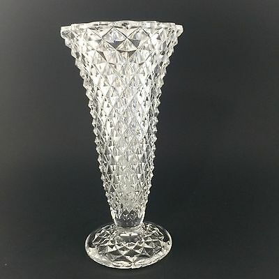 Diamond Point Vase Footed Clear Indiana Glass 8 inch VTG in EUC